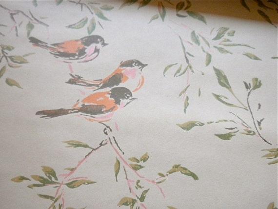 Antique Wall Paper - Pink and Orange Tree Birds - One Yard