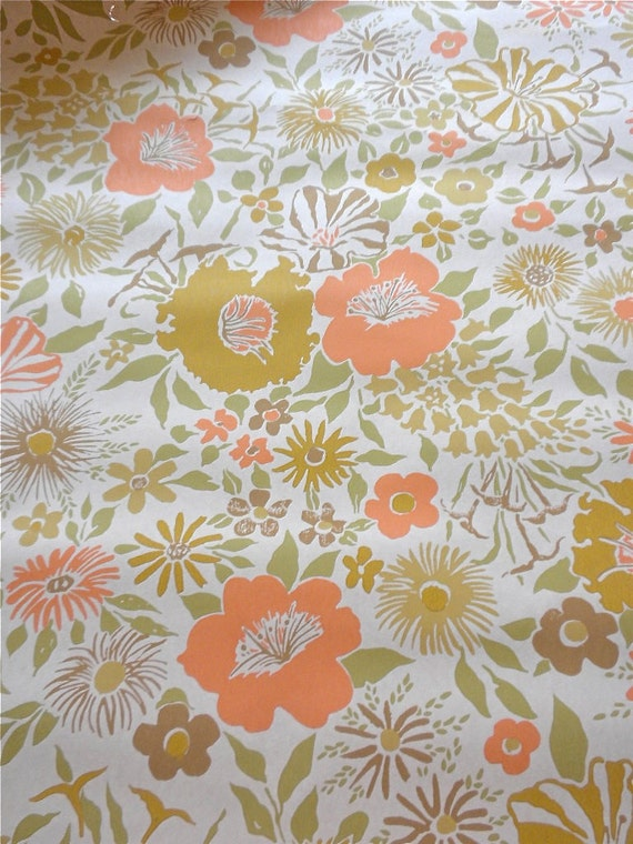 Antique Wall Paper - Orange and Mustard Floral - 24 x 44