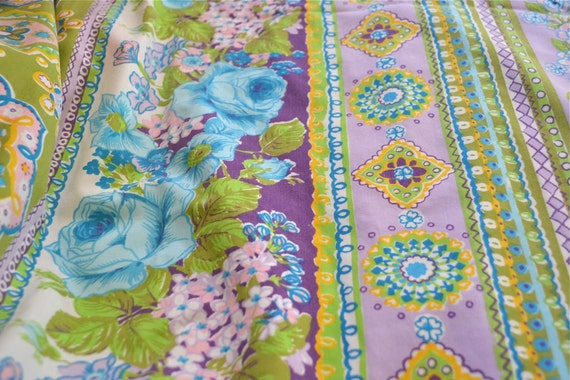Vintage Bed Sheet - Cannon Bohemian Print - Twin Fitted