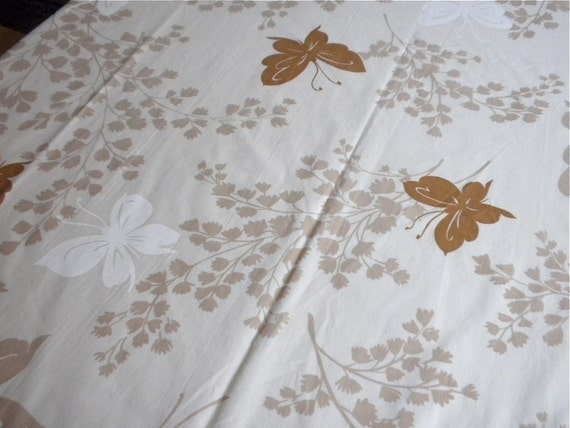 Vintage Bed Sheet - Butterflies in Tan and Brown - Queen Flat