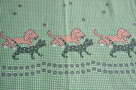 Vintage Border Fabric - Cats and Dogs on Green Gingham Check - 34 x 53