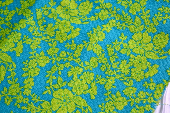 Vintage Fabric - Chartreuse Floral on Aqua Blue - Upholstery By the Yard