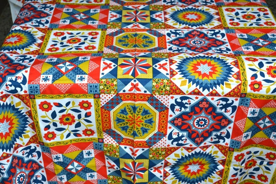 Vintage Fabric - Tole Folk Art Print - Cotton Canvas 45 x 45
