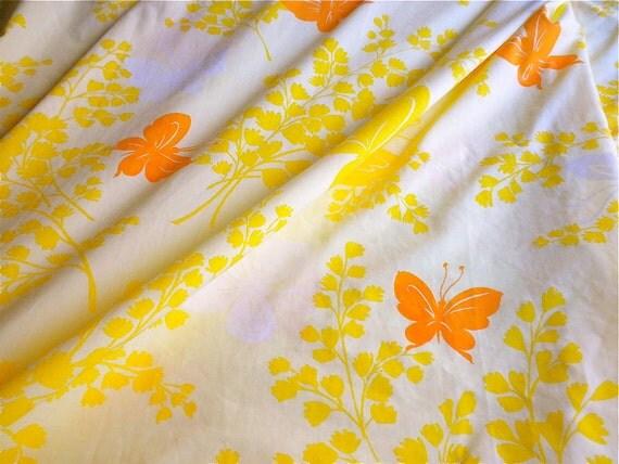 Vintage Bed Sheet - Orange Butterflies on Pale Yellow - King Flat for Repurpose