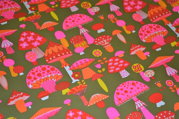 Vintage Wrapping Paper - Mod Neon Pink Mushrooms - A Full Roll by Norcross