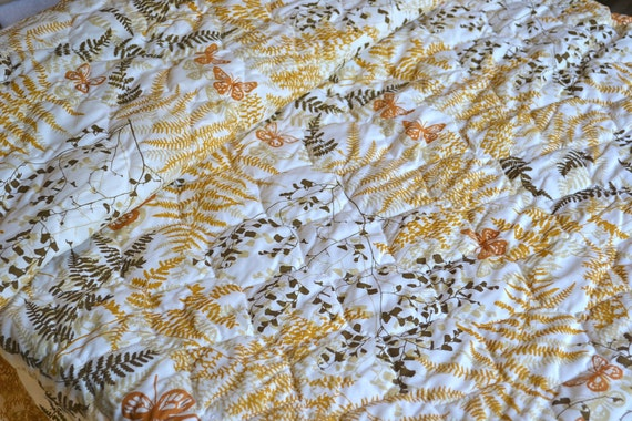 Vintage Bedspread - Vera Butterflies and Ferns in Shades of Brown - Full Size