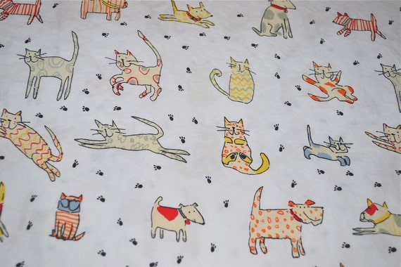 Cat And Dog Print Bed Sheet All Cotton Twin Fitted