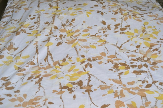 Vintage Bed Sheet - Yellow and Brown Autumn Trees - King Fitted for Use or Repurpose