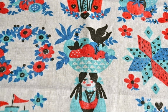 Vintage Kitchen Dish Towel - Tole Folk Art Print in Red and Blue - Cotton Linen
