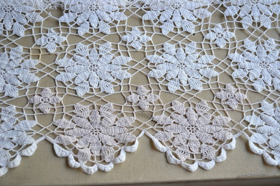 Vintage Hand Crochet Tablecloth - 63 x 78