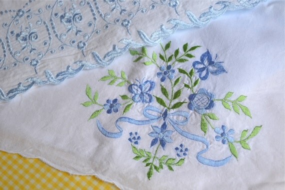 Vintage Embroidered Pillowcases - Two Pairs in Blue - Standard Size