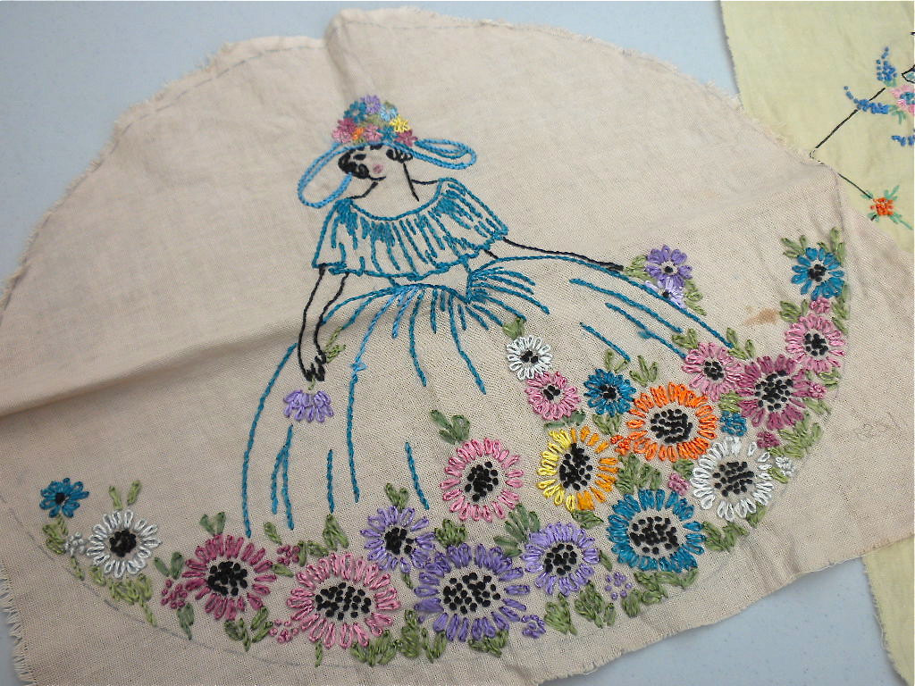 Vintage embroidered fabric panels southern belle by