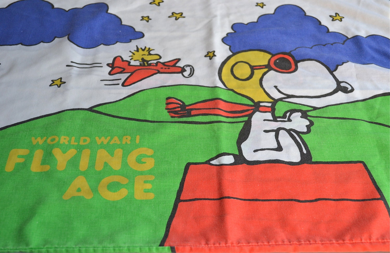 vintage snoopy pillowcase flying ace standard size