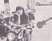 Davy Jones motorcycle Monkees page from 1967 vintage music book Honda - Free U.S. shipping