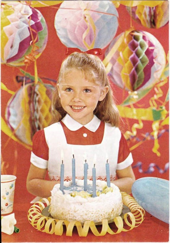 Vintage postcard 5th Birthday Cake retro Girl with Party Decorations ...
