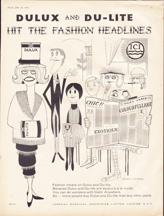 Vintage 1960 ad Peter Kneebone cartoon art Dulux Dulite Paint - Free U.S. shipping