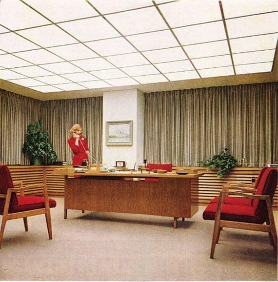 Modern Office Decorations: Vintage Ad Corning Glass Great Mid-Century Modern Office Decor