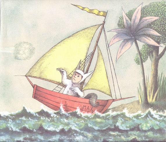 Vintage illustration Max in boat arrives Where the Wild Things