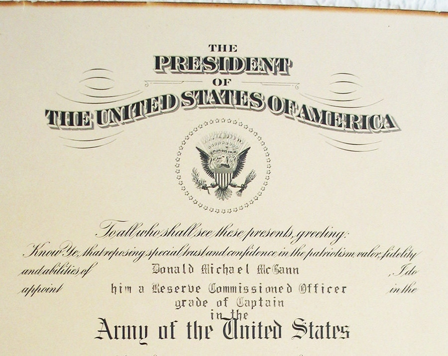 1953 U.S. Army Reserve captain officer commission document
