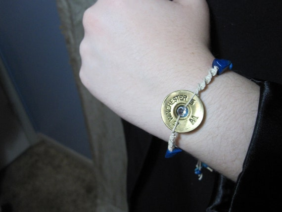 Beaded Rope Bracelet Winchester 12 Gauge Shotgun Shell Jewelry