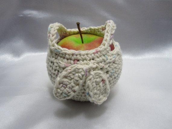 Crochet Fruit Cozy Apple Holder Bag Lunch Box Confetti yarn