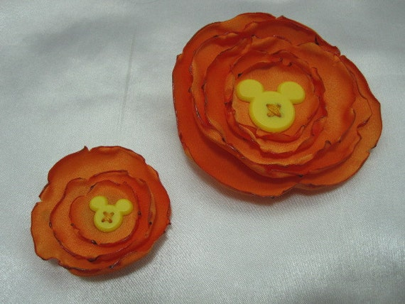 Orange Hair Clip Set for Child and Doll American Girl  Flower Mickey Mouse