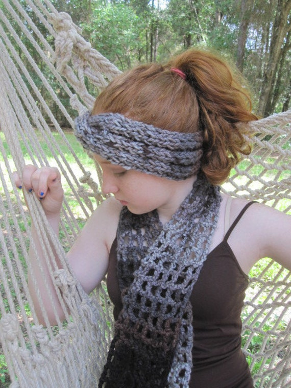 Knitted Headband Crochet Scarf Earthtone Multi Colors grey black and brown set