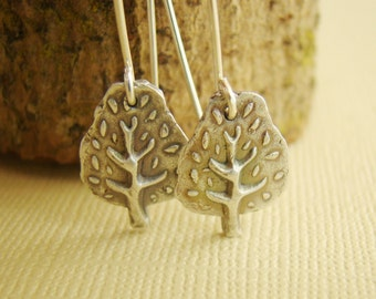 Forest, trees, art clay silver, fine silver, charms, sterling silver, earrings, fairy tales, poetic, metalwork, eco friendly
