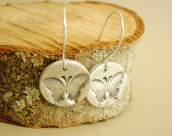 Butterfly print metal clay fine silver sterling silver earrings, for wife, wedding gift, bridesmaid earrings, teenage daughters
