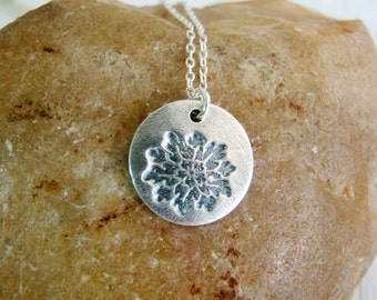 Bridesmaid lotus flower metal clay fine silver necklace, maid of honor, for wife, mother of bride, eco friendly