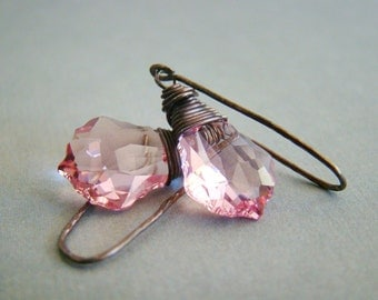 Swarovski light pink crysal briolettes wire wrapped oxidized sterling silver earrings - Dusty rose
