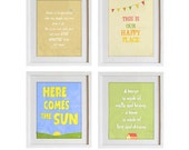 Set of 4 art prints, living room decor, beige, off white, here comes the sun, positive quotes, green, famous quotes