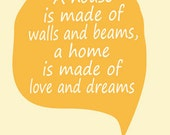 Poster, art print, Home decor, wall art, housewarming gift, new house, home is made of love and dreams