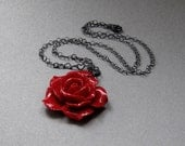 Red Rose Necklace with Oxidised Sterling Silver