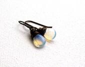 Fire opalite earrings antique brass wire wrapped teardrop briolettes