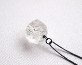 Crystal quartz necklace, Clear rock quartz Oxidized sterling silver