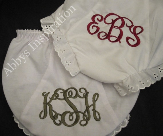 Pair of 2 Custom Monogrammed Diaper Covers Bloomers Size 0-6 Mth Diaper Cover