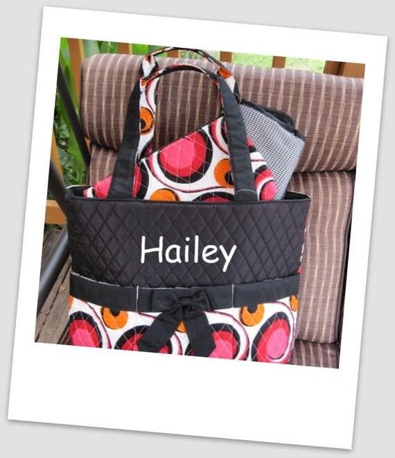 LaSt OnE Monogrammed 3 Piece Black Diaper Bag Set Personalized SALE