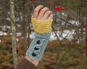 KIT for Cashmere Crochet Handwarmers with Buttons