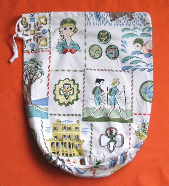 50s Handmade Girl Scout Fabric Bag