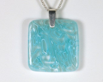 Square Ske Blue and White Necklace