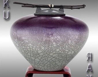 Dual Tone Cremation Urn for ashes, Raku Ceramic, Standard Size