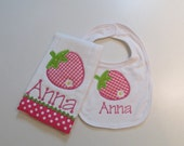 Baby Girls,Hot Pink and Lime Green Strawberry Bib and Burp Cloth Set, with Monogram