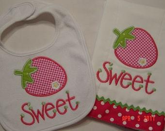 Baby Girl Strawberry Applique Burpcloth and Bib Set