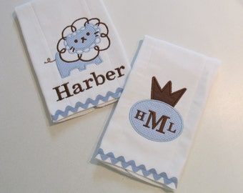 Baby Boy Burp Cloth Set in Chocolate Brown and Baby Blue Gingham, Little Crown Applique with Monogram, Adorable Lion Applique