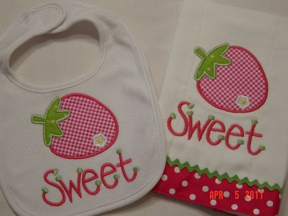 Baby Girl Strawberry Applique Burpcloth and Bib Set