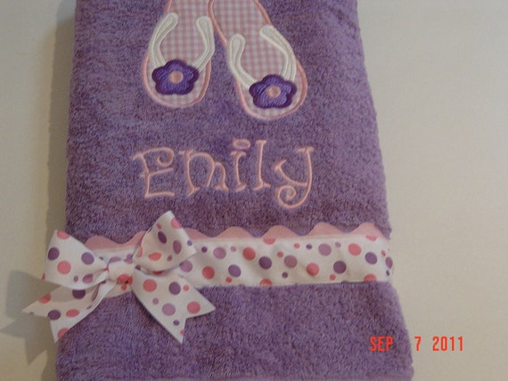 Girls Lavender Pool or Bath towel with Flip Flop Applique with Monogram