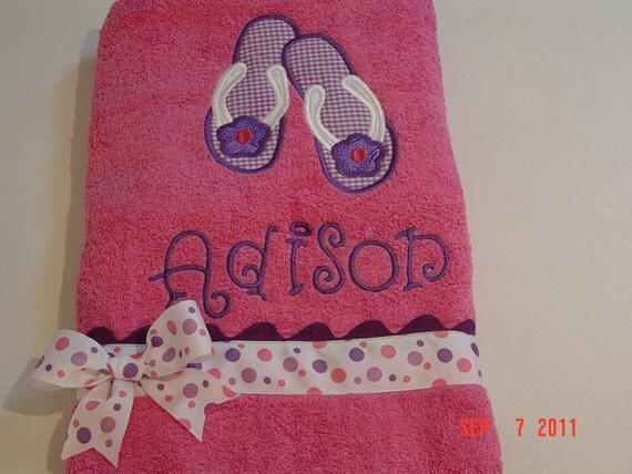 Girls Hot Pink Bath, Beach or Pool Towel with Flip Flop Applique with Monogram
