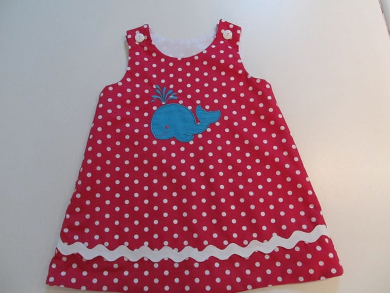 Ready To Ship Size 2T A-line Jumper in Hot Pink White Polka Dot Fabric with Aqua Whale Applique and White Buttons and White Ric Rac Trim