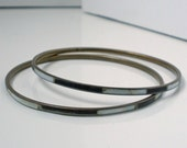 Vintage Mod Black And White Bracelet Bangle Pair